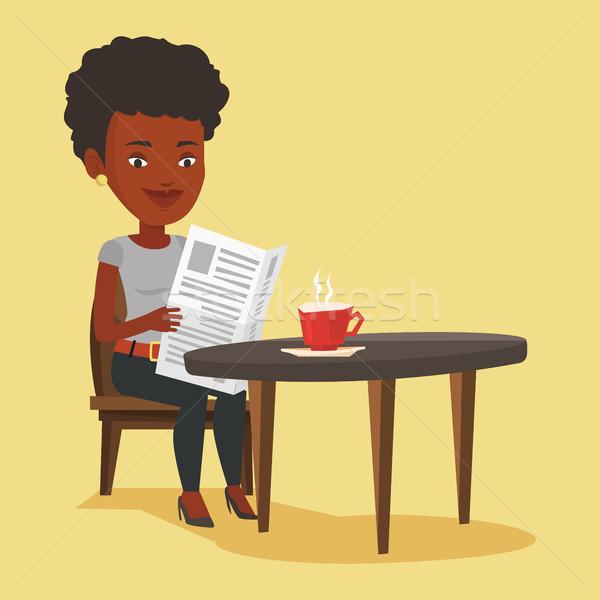 Woman reading newspaper and drinking coffee. Stock photo © RAStudio