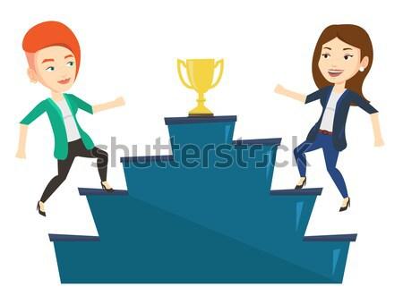 Két nő versenyző üzlet díj kettő üzletasszonyok Stock fotó © RAStudio