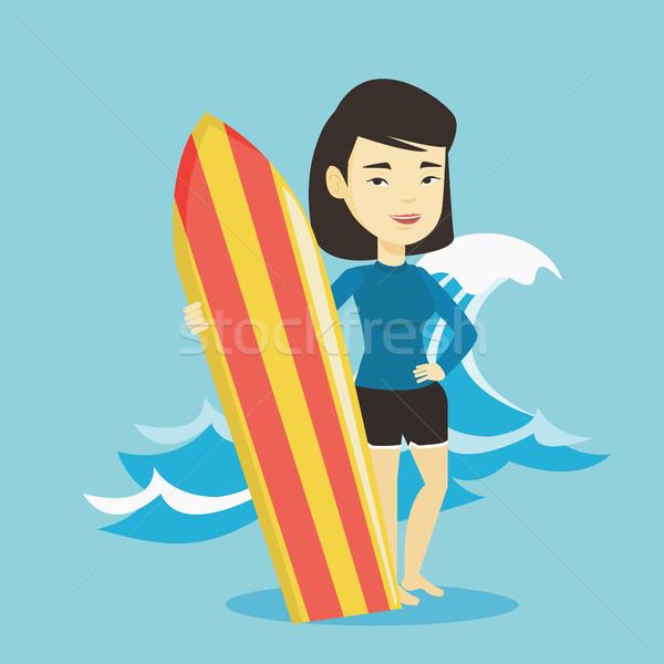 Surfer доска для серфинга Постоянный пляж Сток-фото © RAStudio