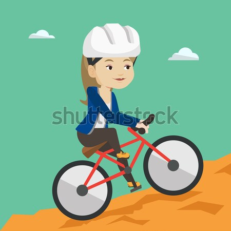 Young man on bicycle traveling in the mountains. Stock photo © RAStudio