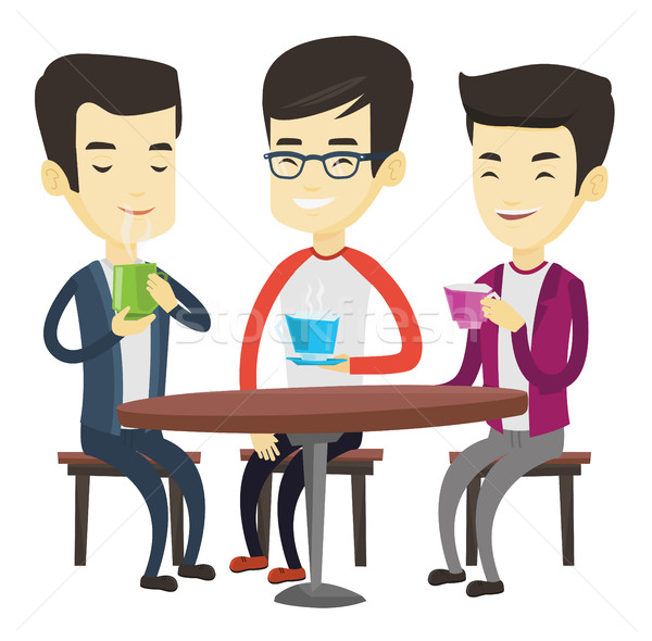 Group of men drinking hot and alcoholic drinks. Stock photo © RAStudio