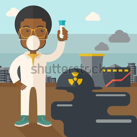Kobieta promieniowanie garnitur probówki stałego jądrowej Zdjęcia stock © RAStudio