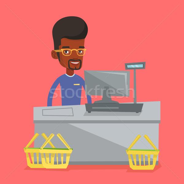 Pénztáros áll pénztár áruház dolgozik pénztárgép Stock fotó © RAStudio