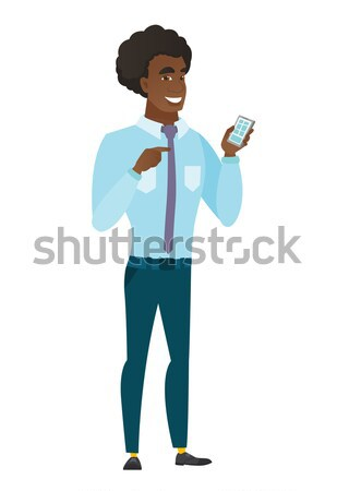 Caucasian business man holding hand mirror. Stock photo © RAStudio