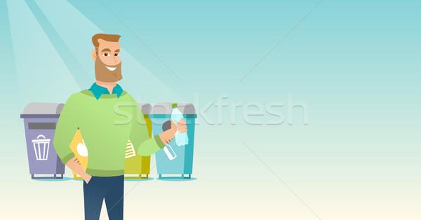Man weg plastic fles kaukasisch Stockfoto © RAStudio