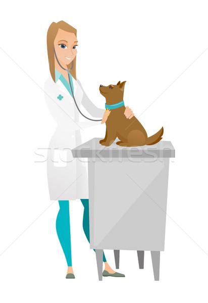 ветеринар собака кавказский больницу сердцебиение Сток-фото © RAStudio