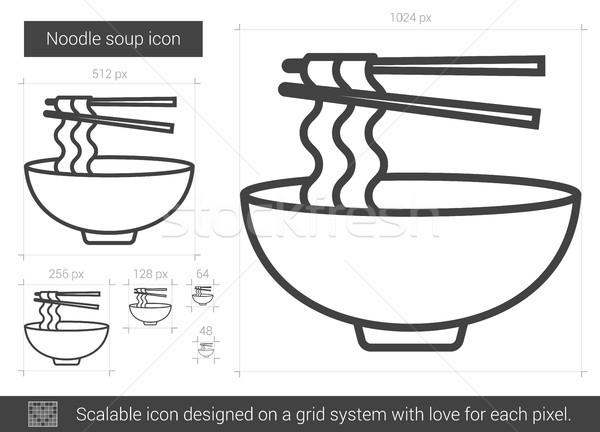 Noodle soup line icon. Stock photo © RAStudio