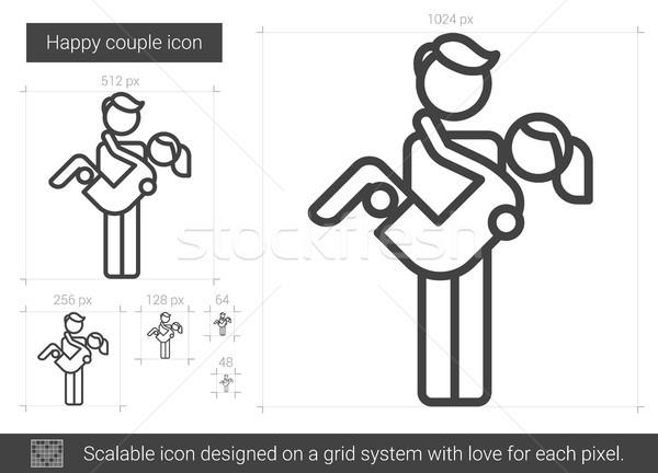 Сток-фото: счастливым · пару · линия · икона · вектора · изолированный
