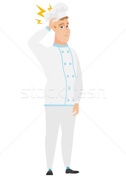 Kafkas şef pişirmek yıldırım kafa tam uzunlukta Stok fotoğraf © RAStudio