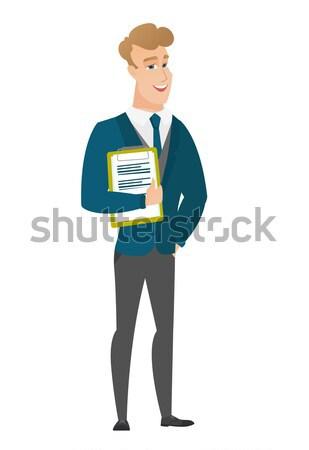 Groom holding clipboard with documents. Stock photo © RAStudio