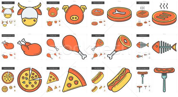Egészségtelen étel vonal ikon gyűjtemény vektor izolált fehér Stock fotó © RAStudio