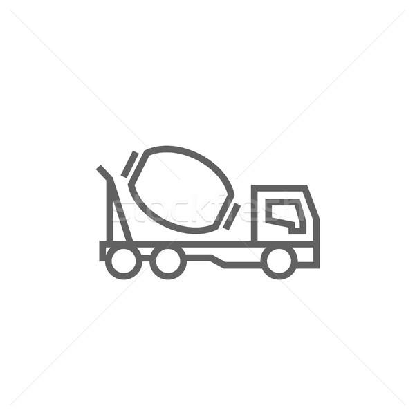 Concrete mixer truck line icon. Stock photo © RAStudio