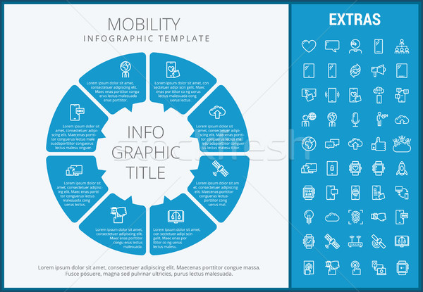 Mobilité modèle icônes personnalisable Photo stock © RAStudio
