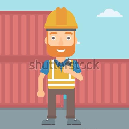 Portu pracownika mówić bezprzewodowej radio stałego Zdjęcia stock © RAStudio