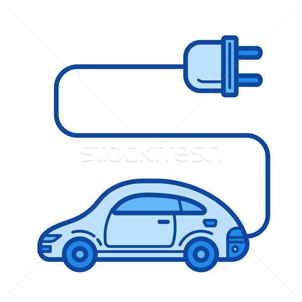 Voiture électrique ligne icône vecteur isolé blanche Photo stock © RAStudio