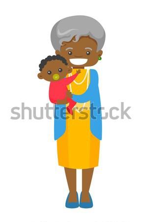 Senior african Großmutter halten Enkel glücklich Stock foto © RAStudio