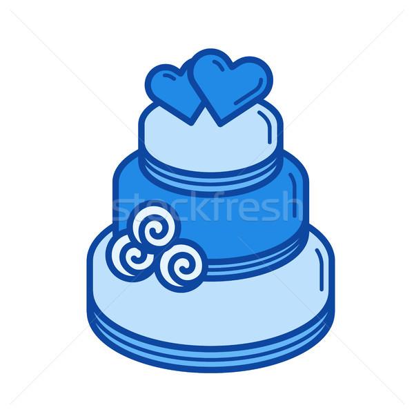 Esküvői torta vonal ikon vektor izolált fehér Stock fotó © RAStudio