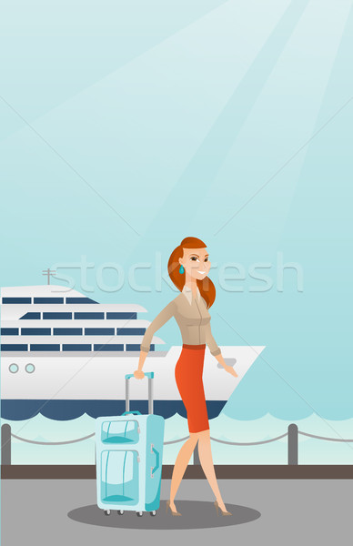 Passenger goes to the cruise liner with a suitcase Stock photo © RAStudio