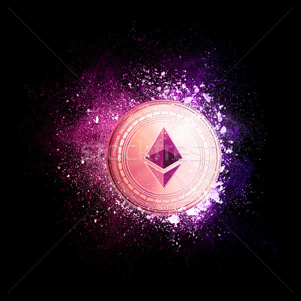 Ethereum coin flying in violet particles. Stock photo © RAStudio