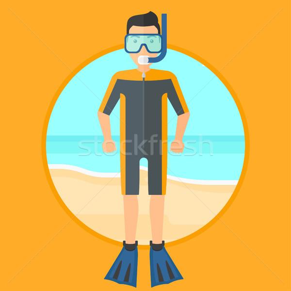 Male scuba diver on the beach. Stock photo © RAStudio