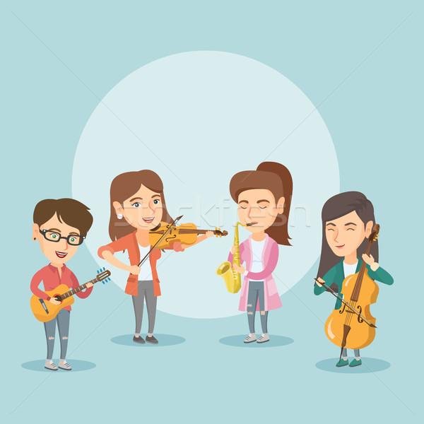 Zenekar zenészek játszik hangszerek kaukázusi csoport Stock fotó © RAStudio