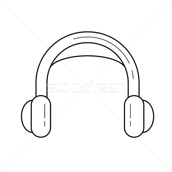 Stockfoto: Hoofdtelefoon · lijn · icon · vector · geïsoleerd · witte