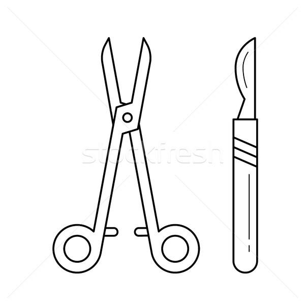 Foto stock: Cirúrgico · linha · ícone · bisturi · vetor · isolado