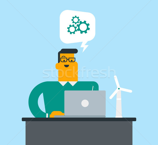 Caucasian white engineer projecting a wind turbine Stock photo © RAStudio
