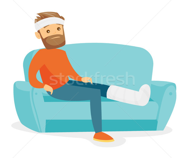 Caucasian man with broken leg sitting on the couch Stock photo © RAStudio