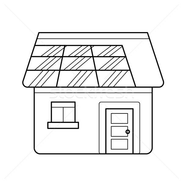 Erő hatékony ház vektor vonal ikon Stock fotó © RAStudio