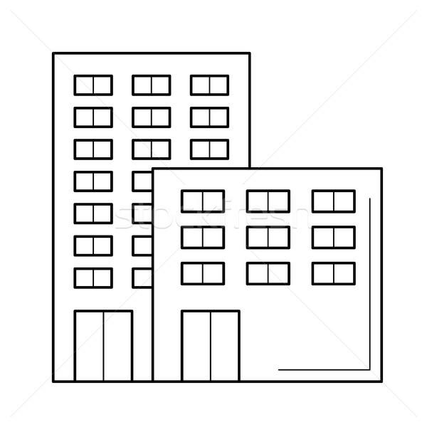 Immeuble de bureaux vecteur ligne icône isolé blanche Photo stock © RAStudio