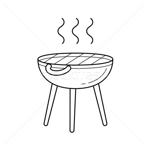 Stock photo: BBQ grill vector line icon.