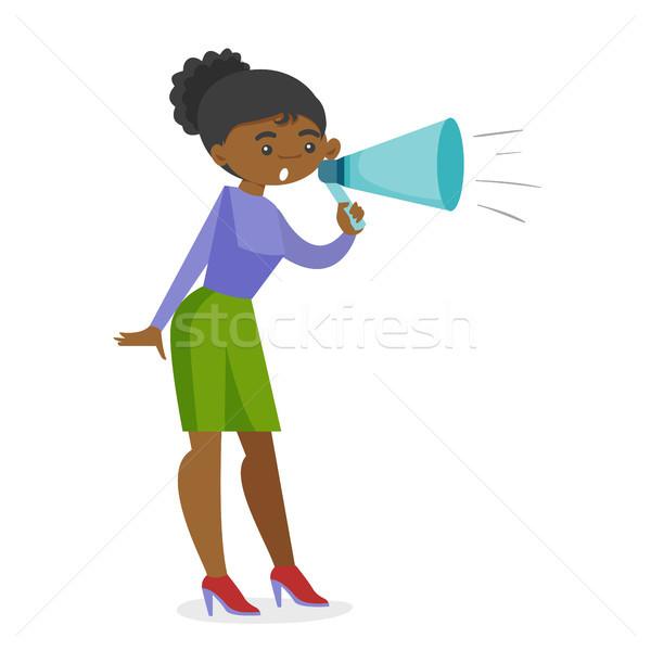 Jungen african feministischen schreien Megaphon Frau Stock foto © RAStudio