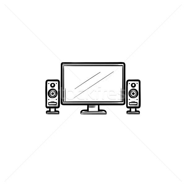 Tv otthon színház kézzel rajzolt skicc firka Stock fotó © RAStudio