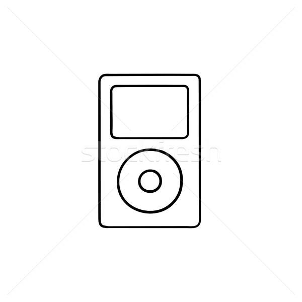 Mp3-speler schets doodle icon media Stockfoto © RAStudio