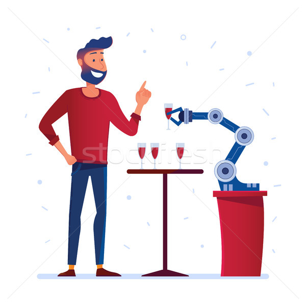 Robotic hand serves wine to a man Stock photo © RAStudio
