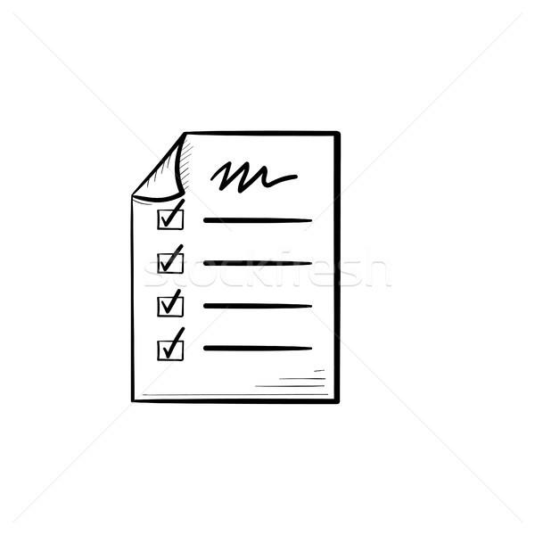 Foto stock: Lista · rabisco · ícone · papel