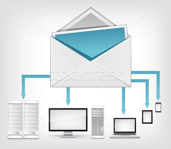 Mail grijs vector internet laptop Stockfoto © RAStudio