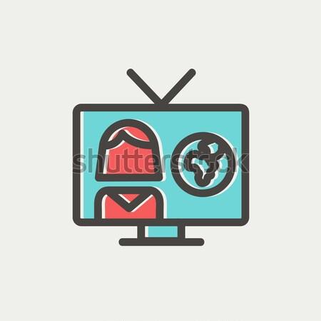 TV weather reporter thin line icon Stock photo © RAStudio