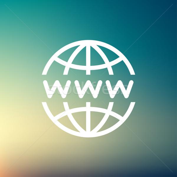 Wereldbol website design dun lijn icon web Stockfoto © RAStudio
