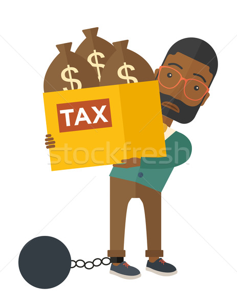 Afican-american Businessman locked in a debt ball and chain. Stock photo © RAStudio
