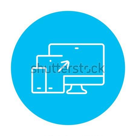 Three devices laptop, smartphone and tablet thin line icon Stock photo © RAStudio