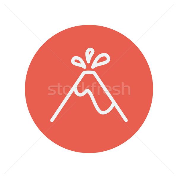 Vulcão fino linha ícone teia móvel Foto stock © RAStudio