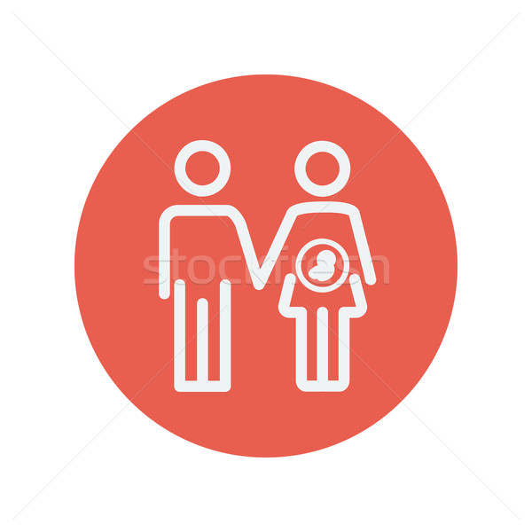 Stock photo: Husband with pregnant wife thin line icon