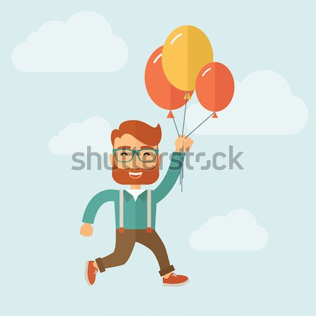 Young japanese man flying with balloons. Stock photo © RAStudio