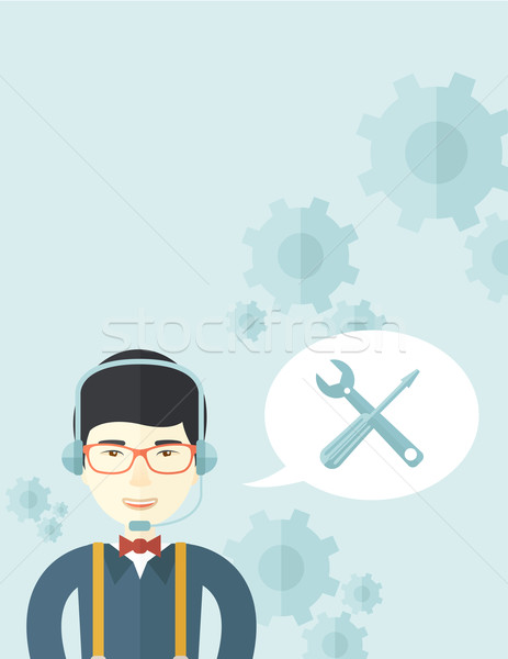 Japanese operator with headset as customer service Stock photo © RAStudio