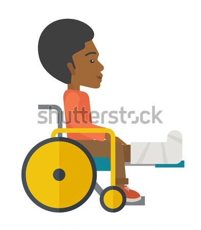 Man rolstoel gebroken bot tijdgenoot stijl Stockfoto © RAStudio
