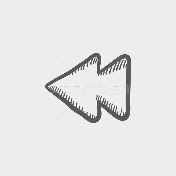 Rewind button sketch icon Stock photo © RAStudio
