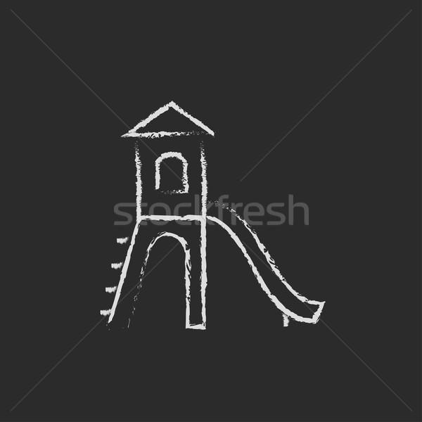 Playground with slide icon drawn in chalk. Stock photo © RAStudio