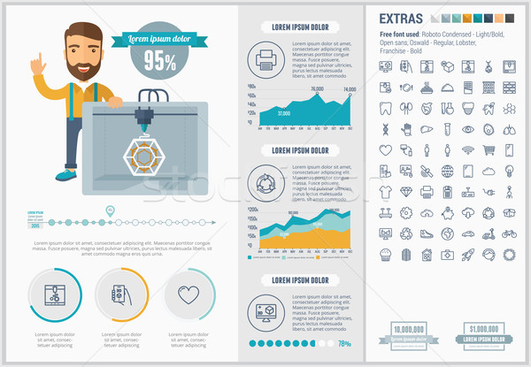 Három nyomtatás terv infografika sablon elemek Stock fotó © RAStudio